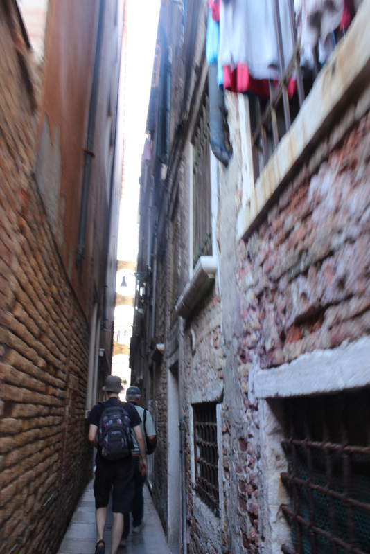 Narrow streets in Venice...