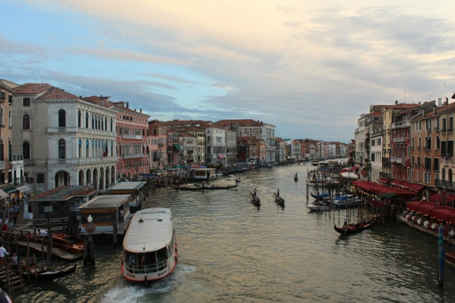 Sunset view from the Rialto Bridge